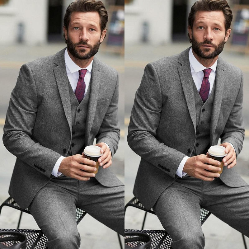 Two Buttons Grey Wedding Men Suits Notch Lapel Three Pieces Business Groom Tuxedos (Jacket+Pants+Vest)