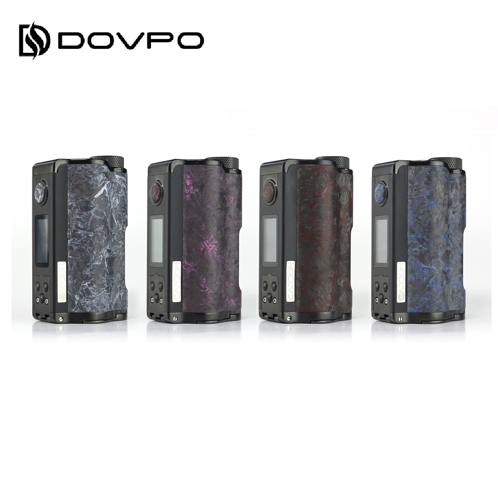 Original DOVPO arriba de carbono Dual Squonk Mod con YIHI Chip por doble batería 18650 Max 200W de potencia de salida DOVPO parte superior vs arrastre 2