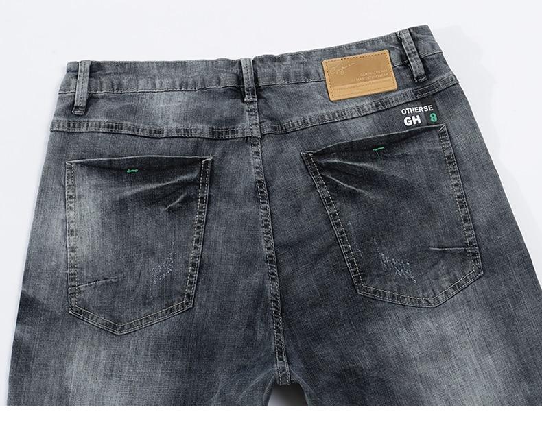 KSTUN jeans men ripped men's slim fit jeans summer stretch retro gray jeans mens denim pants distressed streetwear hip hop jeans 14