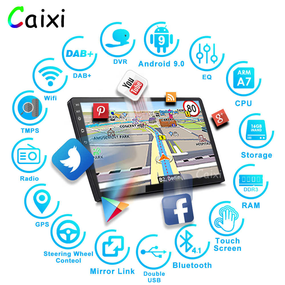 9/10 Inch Android 9.0 2 Din Auto Radio Multimedia Spelersi Universele Auto Stereo Gps Navigatie Bluetooth Video Player Achter Cam