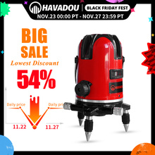 HAVADOU 5 Lines 6Points Red Laser Levels 360°Self Leveling Adjustment Vertical&Horizontal Rotary LD 635nm Visibility