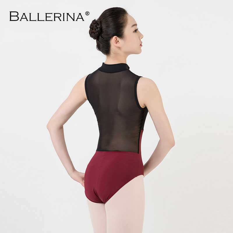 Image 2 - ballet dance Practice black mesh leotard women gymnastics Turtleneck Sleeveless Leotard Ballerina 5681-in Ballet from Novelty & Special Use