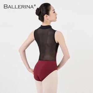 Image 2 - ballet dance Practice black mesh leotard women gymnastics Turtleneck Sleeveless Leotard Ballerina 5681