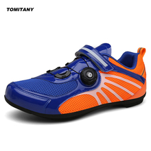 цена на Breathable Pro Self-Locking Cycling Shoes Road Bike Bicycle Shoes Ultralight Athletic Racing Sneakers Zapatos Ciclismo