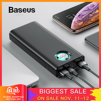 Baseus 20000mAh Power Bank para iPhone Samsung Huawei tipo C PD carga rápida + carga rápida 3,0 batería externa USB Powerbank