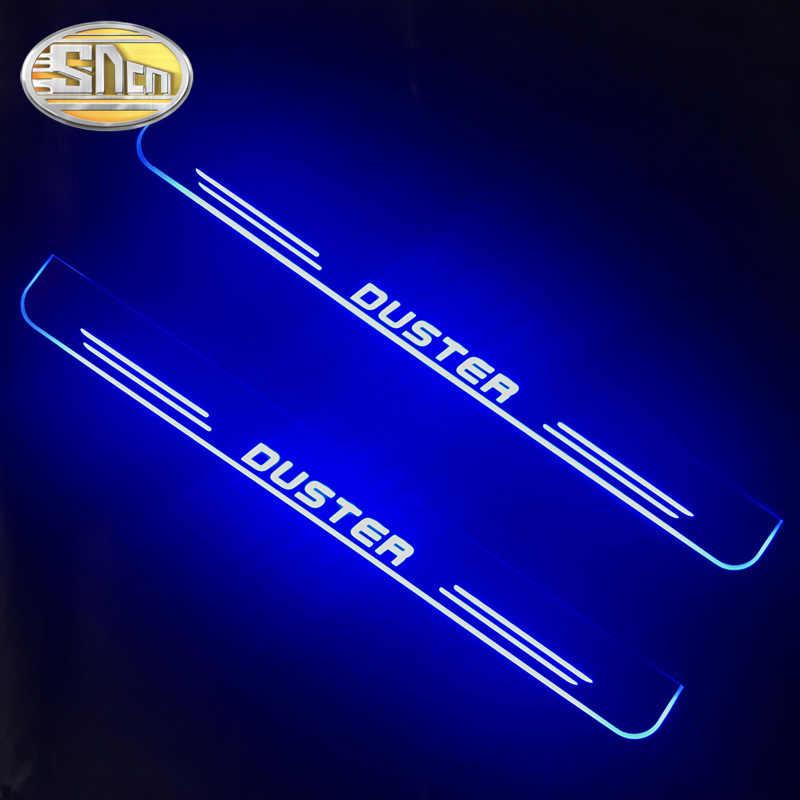 SNCN 4 Uds acrílico se LED Bienvenido Pedal coche placa del desgaste Pedal puerta luz vía para Renault Duster 2015, 2016, 2017, 2018