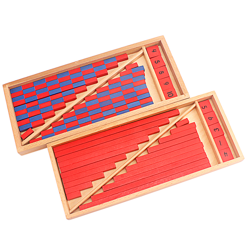 Montessori Materials Math Toy Numerical Rods Mini Blue & Red Sticks Box Digital 1-10 Early Education Home Games Number Exercises