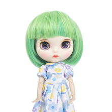 Blyth doll wigs high temperature fiber Air bangs Short Green hair suitable for accessories 25cm 9-10inch