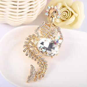 Image 4 - Tuliper Halloween Mermaid Skeletschedel Broche Voor Vrouwen Crystal Pins Partij Sieraden Gift Broche Femme