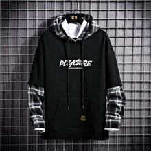 URSPORTTECH-Sudadera con capucha de retales para hombre, Jersey informal de ropa de calle Punk Hip Hop, color negro, primavera y otoño