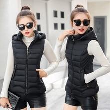 Plus Size Women Vest Winter Jacket Hooded Autumn Coat Warm Cotton Padded Vest Female Slim Sleeveless Waistcoat Women Down Vest цена 2017