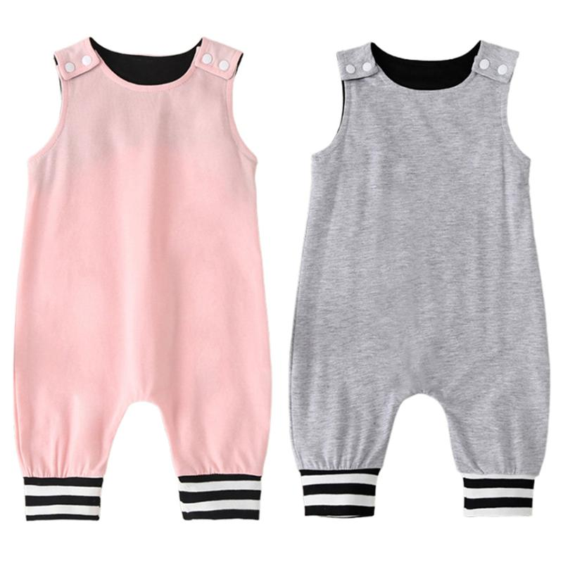 Exquisite Baby Romper Simple Newborn Round Collar Sleeveless Solid Splicing Clothes Infant Jumpsuit Daily Playsuit Outfits