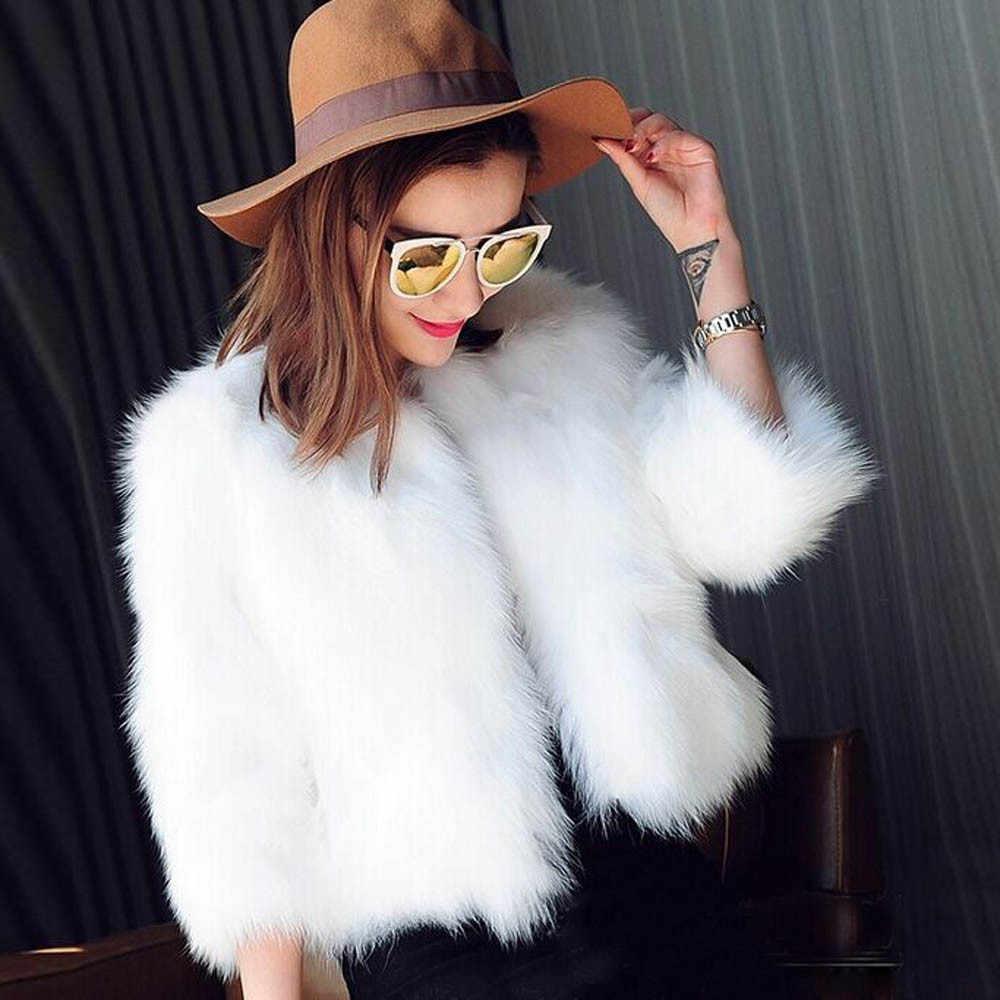 겨울 따뜻한 여성 가짜 모피 코트 부드러운 겉옷 푹신한 흰색 숙녀 테디 코트 겉옷 짧은 재킷 카디건 가짜 모피 코트 새로운