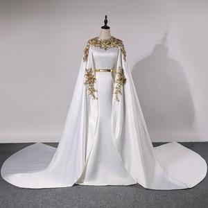 Image 1 - فساتين سهرة طويلة كلاسيكية في دبي لعام 2020 فساتين رسمية للحفلات من الساتان مزين بكريستال Vestidos Robe De Soiree