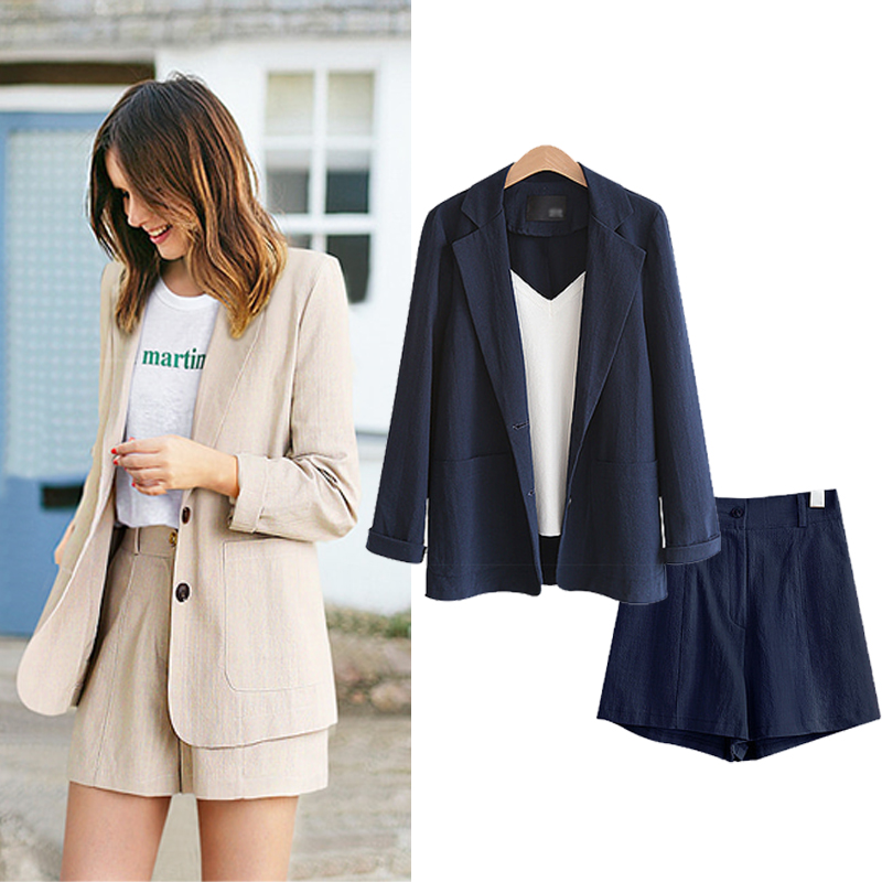 MinuoYi 2 Pieces Set Tops And Pant Women Sets Summer Shorts Suits Two-piece Suit Casual Business Blazer Ladies Plus Size XL-5XL