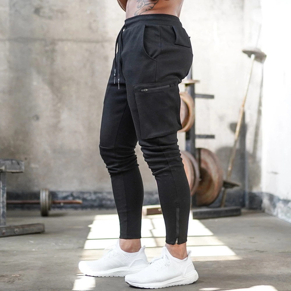 Black Joggers Sweatpants Track Pants Men Gym Fitness Workout Trousers Spring Male Multi-pocket Casual Skinny Pants Sportswear