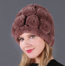 Women 100 Natural Rex Rabbit Fur Hats Knitted Real Rex Rabbit Fur Caps Winter Flowers Real Rex Rabbit Fur Skullies Beanies Hats cheap KACCIVEL Office Lady Thick Warm Fur Thick (Winter) Real Fur H209 Solid