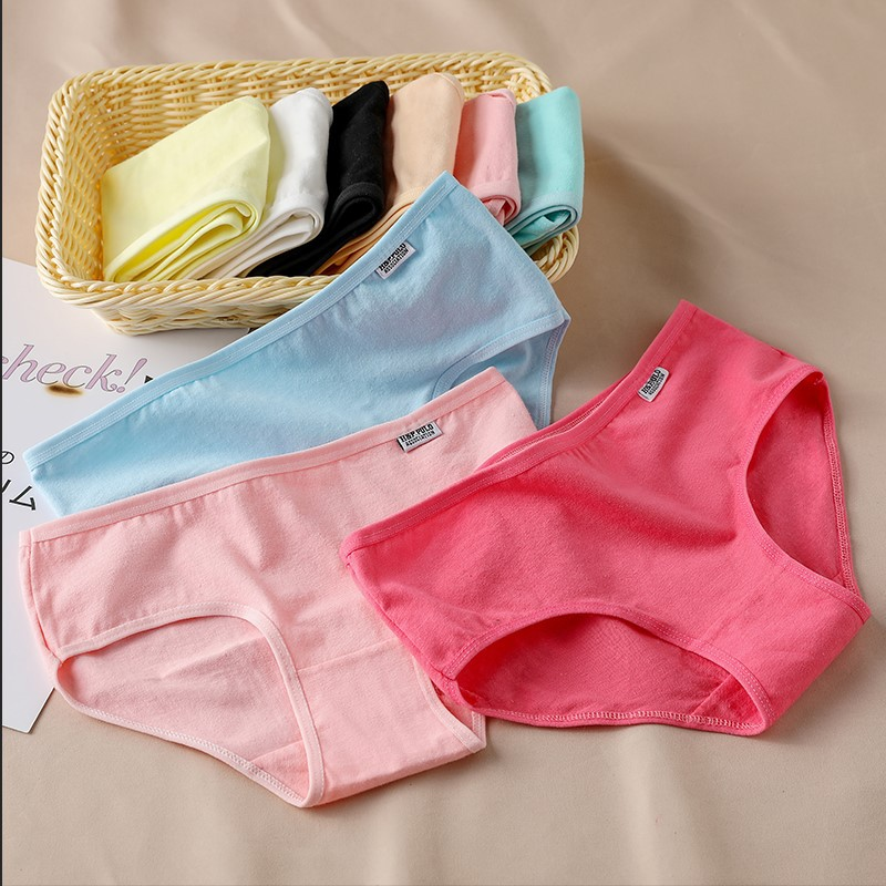 Candy-Colored Underwear Women's Comfortable High Quality Cotton Women's Panties Mid-Waist Breathable Large Size Briefs