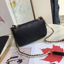 Genuine leather pearl chain shoulder bag top quality female luxury handbag designer wallet brand caviar chain bag messenger ba