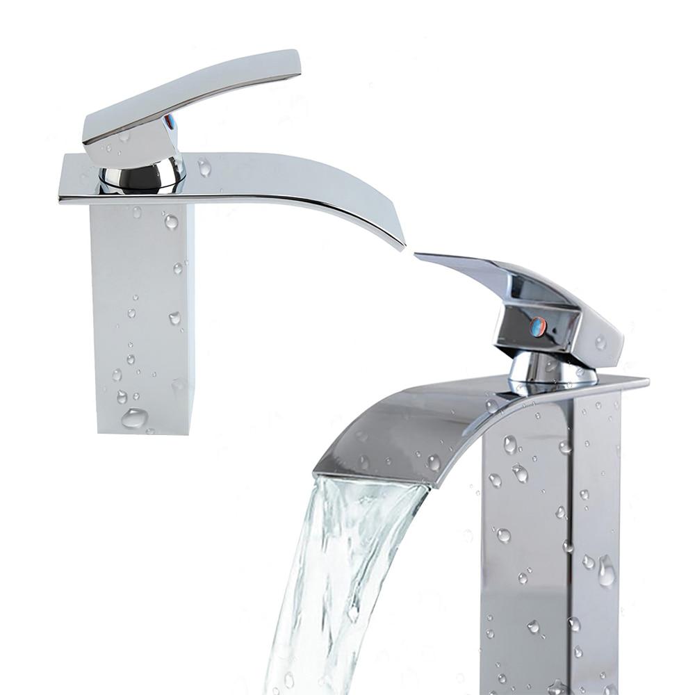 H47287b1a4b764e4ba14a810036fb64beh Modern Bathroom Basin Faucet Waterfall Deck Mounted Cold And Hot Water Mixer Tap Brass Chrome Vanity Vessel Sink Crane