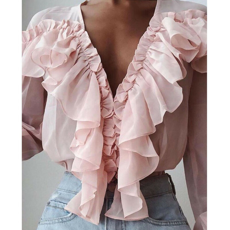 Meihuida Autumn Womens Chiffon Ruffle <font><b>Deep</b></font> <font><b>V</b></font>-Neck Trim Pink Loose Solid Color Shirts Office Lady Elegant <font><b>Blouse</b></font> Holiday Wear image