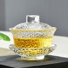 150cc креативный термостойкий прозрачный стеклянный Gaiwan офисный чайный набор кунг-фу посуда для напитков чайник подарок мастер чайные чаши отправлен друг