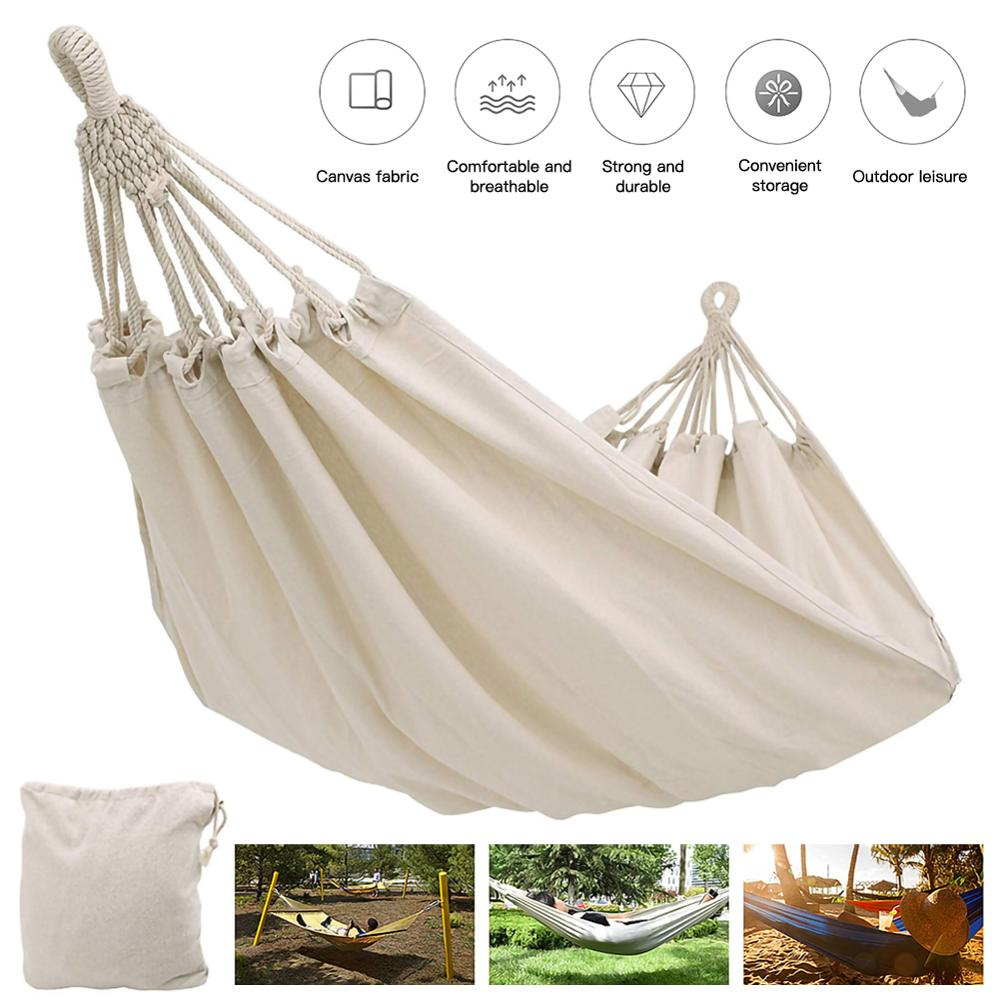 White Canvas Outdoor Double Hammock Anti-rollover Camping Hammock Solid Color 2 Meters Double Hammock Terrace Bed Travel Hiking