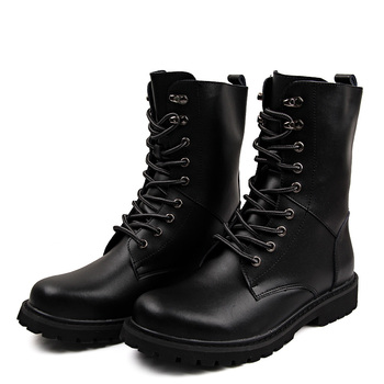 Military Tactical Ankle Boots Men Outdoor Leather Winter Fur Warm Man Boots Us Army Hunting Boots For Men Shoes Casual Black Bot 2