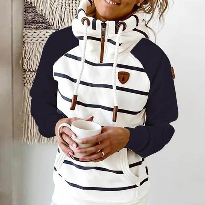 2021 neue frauen hoodie Streifen hoodies frauen Sweatshirt Langarm kleidung Tasche Zipper Hoodies Tops Weiblichen frühling starke outwear