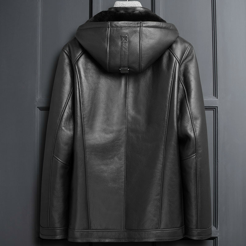 Men's Leather Jacket Winter Real Fur Coat Genuine Leather Sheepskin Jacket Hooded Shearling Jacket Men LSY1102 KJ3822