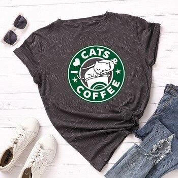Plus Size 5XL Cat Coffee Cartoon Printed Graphic T Shirts Short Sleeve Cotton T Shirt Women Summer Casual Tops Tee