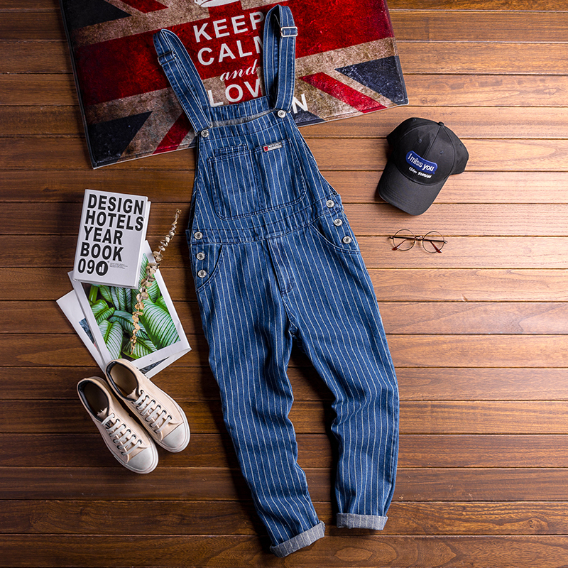 New Men Casual Stripe Printed Blue Denim Overalls Jpanese Vintage Tooling Jumpsuit Mens Rompers Fashion New Arrival Jeans