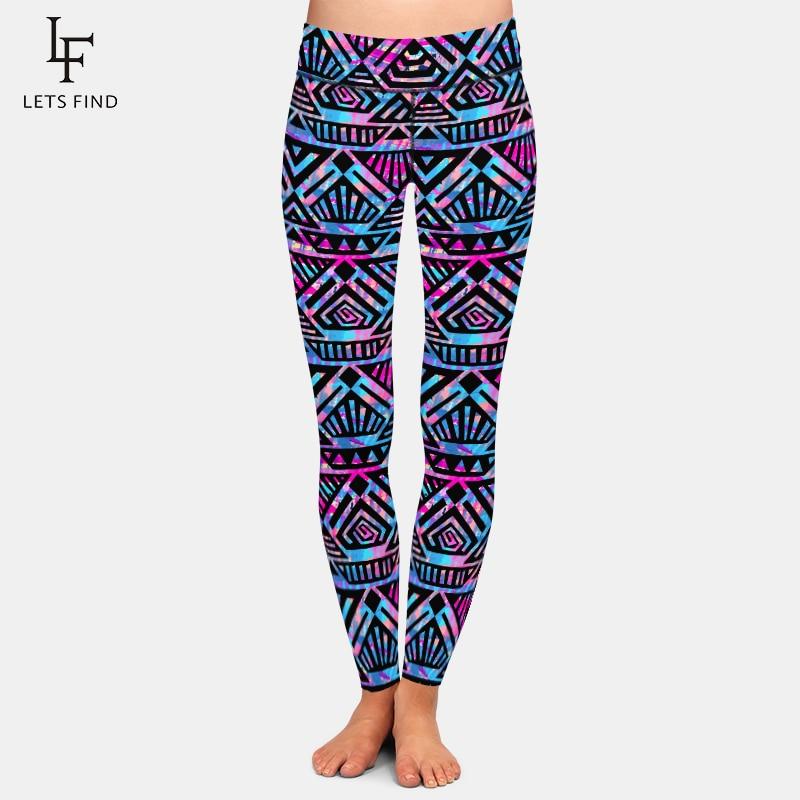 LETSFIND Super Soft Plus Size Women Leggings 3D Hand-painted Tribal Style Printing High Waist Elastic Fitness Full Pants