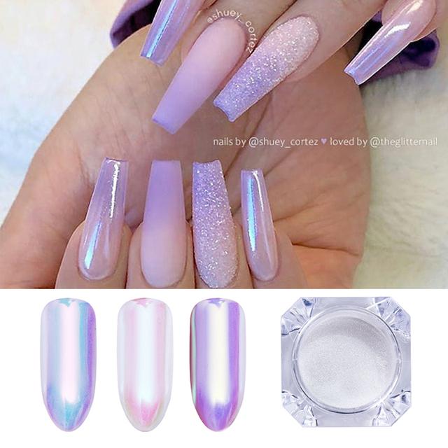 1 Box Pearl Shell Aurora Neon Chameleon  Nail Glitter Mirror Nail Art Pigment Powder Nail Art Decoration DIY Design