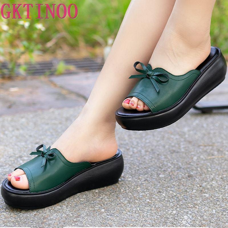 GKTINOO Women Slipper's 2020 Ladies Summer Slippers Shoes Women Wedges Heels Fashion Summer Genuine Leather Shoes Platform