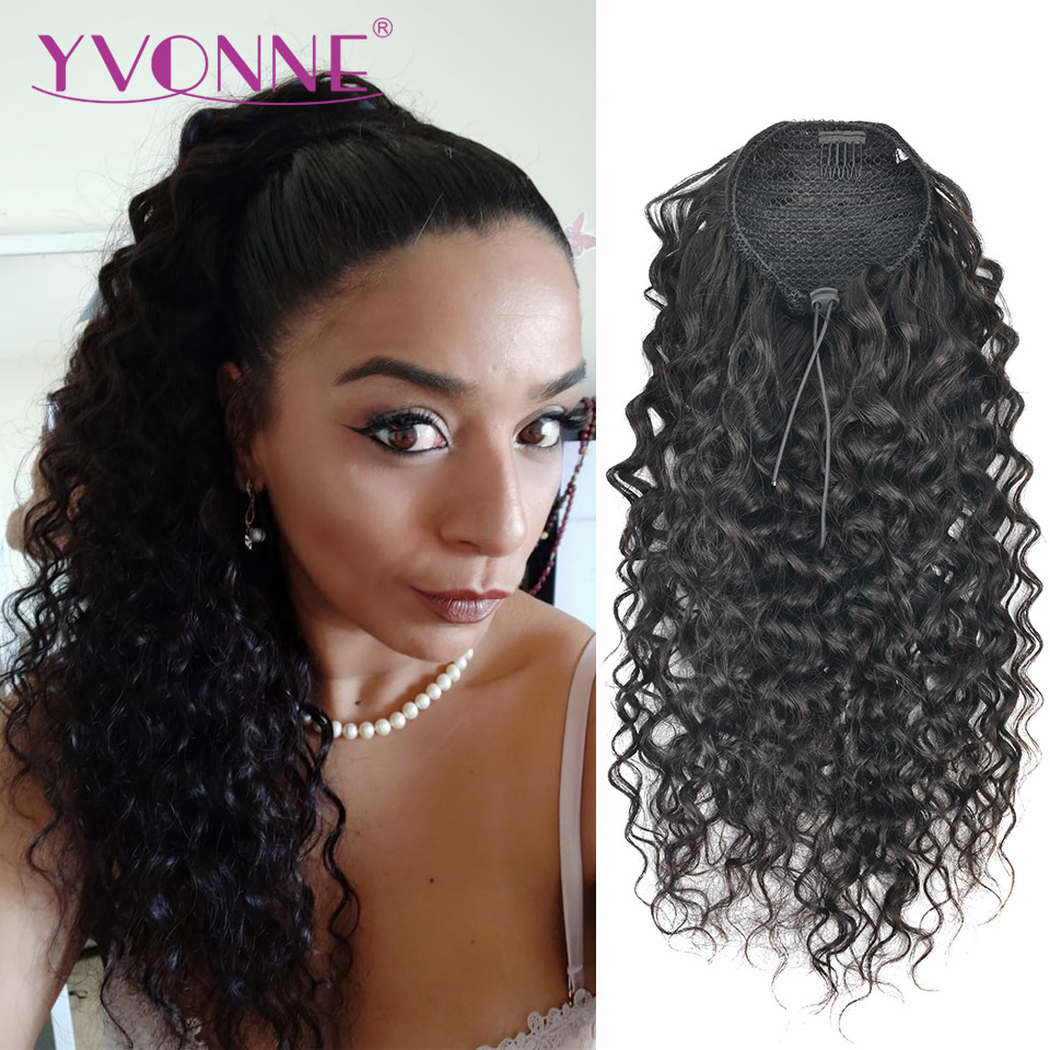 Yvonne Italian Curly Drawstring Ponytail Human Hair Clip In Extensions Brazilian Virgin Hair Natural Color 1 Piece
