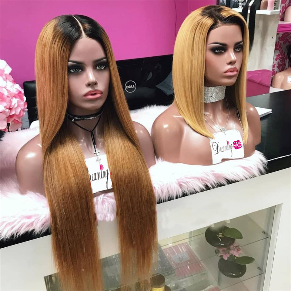 1b 30 Honey Blonde Lace Front Human Hair Wigs For Black Woman Peruvian Straight Lace Front Wig Pre Plucked Remy Natural Wigs