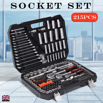 цена на 215pcs Tool Set Home Instruments Set of Tools for Car Repair Tools 1/2 3/8 1/4 Dr. Socket Set Ratchet Wrench with Storage Cas