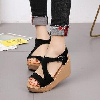 Sandalias con cuña para mujer, zapatos de cáñamo con plataforma de Color caramelo para mujer, zapatos casuales de verano para mujer, sandalias con cordones para niñas