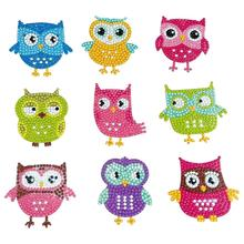 Diamond-Painting-Kits Sticker Number Puzzle Gift Round Animal for Kids Owl-Shape DIY