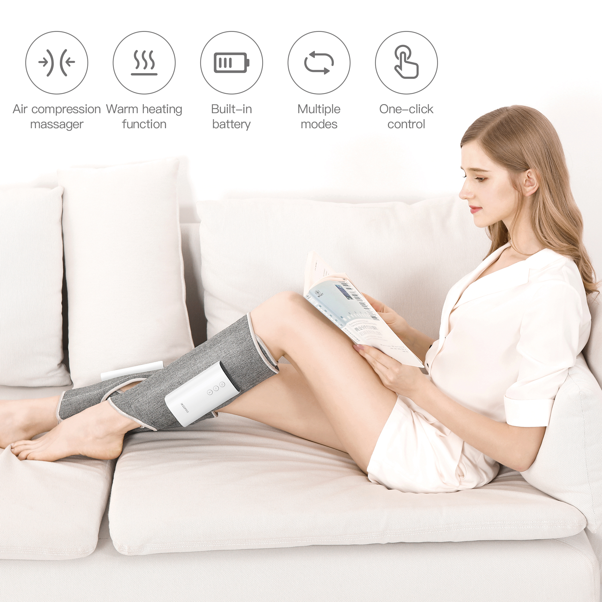 iKEEPFIT Wireless Leg Massager With Smart Air Compression Heating Calf Massage Electric Relief Muscle Pain Relaxation