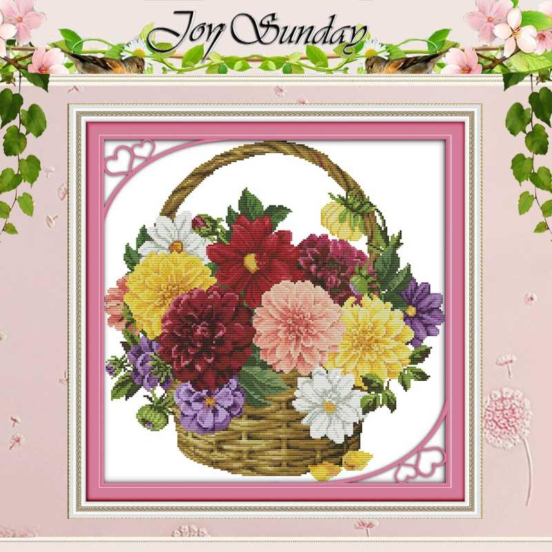 다채로운 국화 십자가 스티치 11CT 14CT 크로스 스티치 세트 도매 꽃 크로스 스티치 키트 자수 바느질 세트