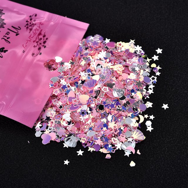 Mixed  PVC Glitter Crystal Epoxy Resin Mold DIY Filling Nail Art Decoration Shell Peach Heart Star Golden Crystal Sequins
