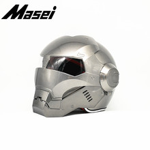 Masei Iron Man helmet motorcycle Vintage Retro helmet half helmet open face helmet casque Motocross Off Road Touring helmet Gray masei 610 top abs moto biker helmet ktm iron man personality special fashion half open face motocross helmet matt black