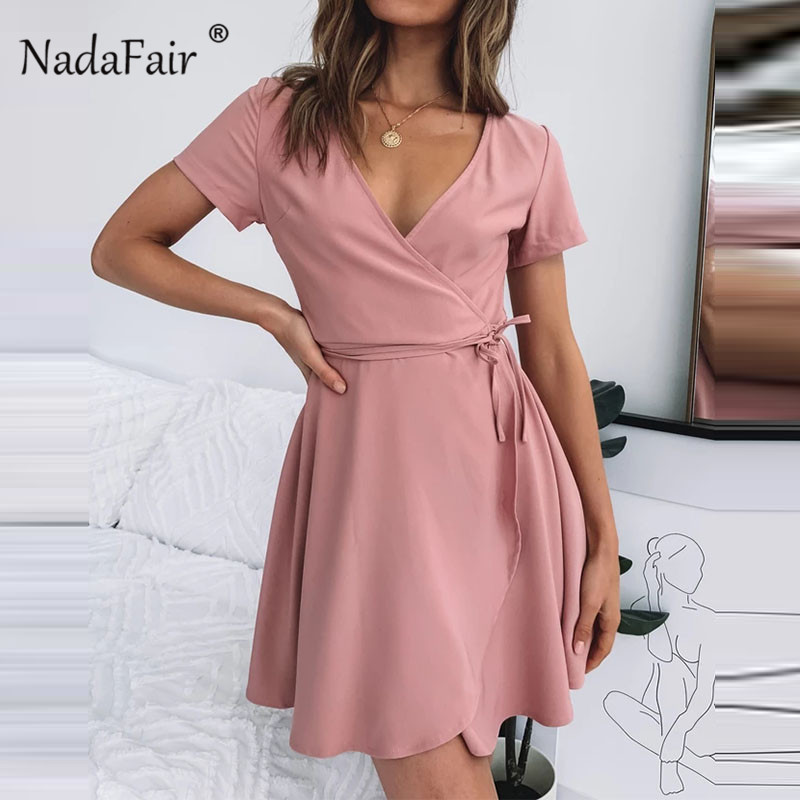 Nadafair V Neck Pink Mini Wrap Dress Short Sleeve Holiday Summer Mini Dress Women Casual Lace Up Short Shirt Dresses Women