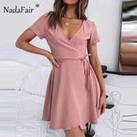 Nadafair V Neck Pink Mini Wrap Dress Short Sleeve Holiday Summer Mini Dress Women Casual Lace Up Short Shirt Dresses Women Black