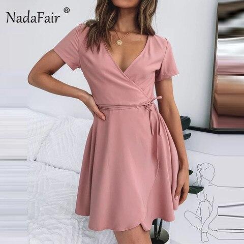 Vestido com Decote em v Casual de Renda Vestidos para Mulheres Nadafair Rosa Mini Vestido Envoltório Manga Curta Férias Verão Curto Mulheres Preto