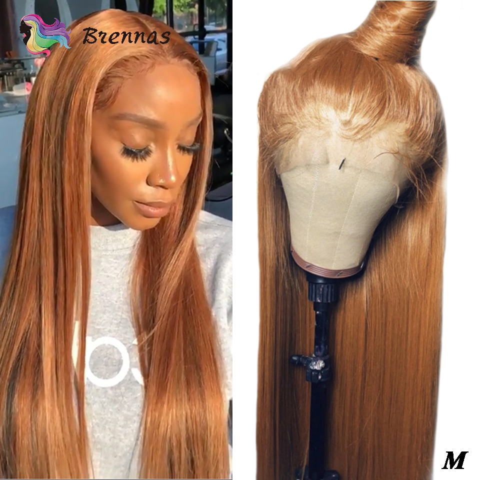 13X6 Lace Wig Straight Lace Front Wigs Honey Brown Color Bleached Knots Brazilian Human Hair Lace Wig For Black Women Non-Remy
