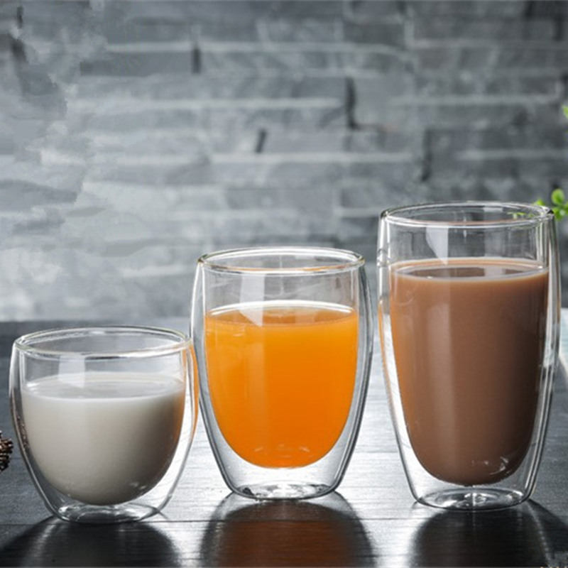 80/250/350/450ml Heat resistant Double Wall Glass Cup Beer Coffee Cups Handmade Healthy Drink Mug Tea Mugs Transparent Drinkware|Transparent|   - AliExpress