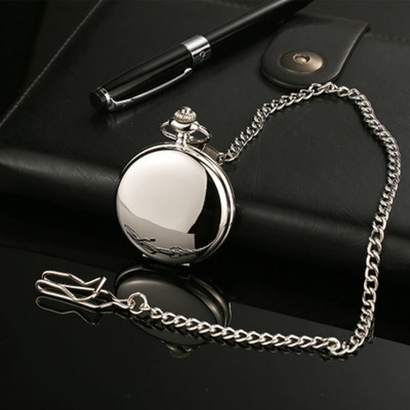 Retro Smooth Men Black Pocket Watch Silver Polish Quartz Fob Pocket Watches Pendant with Chain Hot Sale Pocket  Fob Watches
